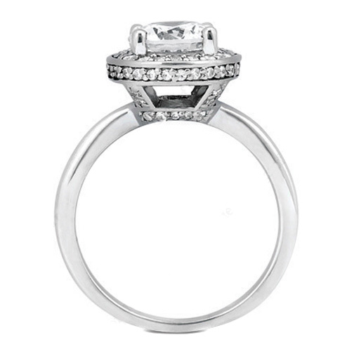 Double Halo Crown Diamond Engagement Ring 0.31 tcw. in 950 Platinum