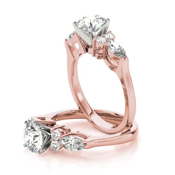 Marquise & Round Diamond Engagement Ring in Rose Gold