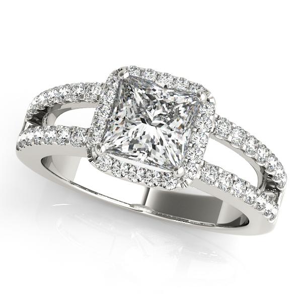 Engagement Ring Square Diamond Halo With Split Band Matching Wedding ES399