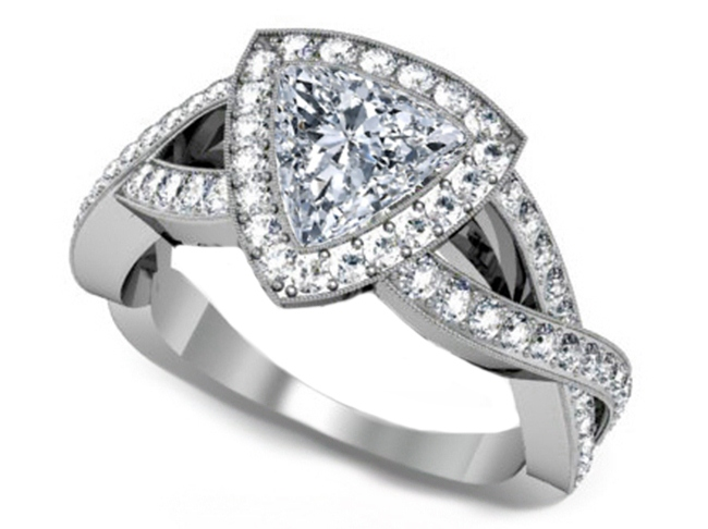 Trillion Diamond Halo Infinity Engagement Ring in 14K White Gold