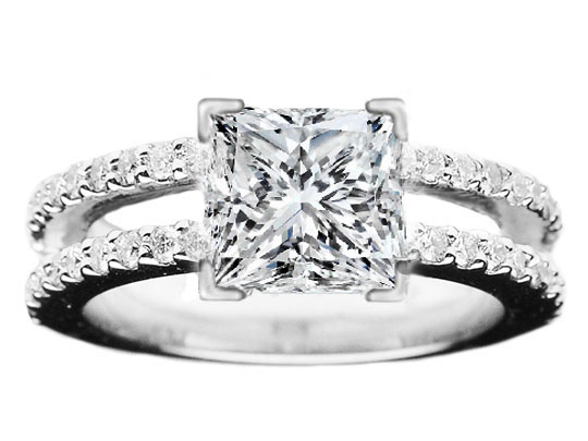 Princess Diamond Split Band Engagement Ring Britney Spears Choice 0.56 tcw.