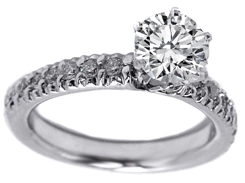 Diamond Engagement Ring with Sidestones in 14K White Gold 0.28 tcw.