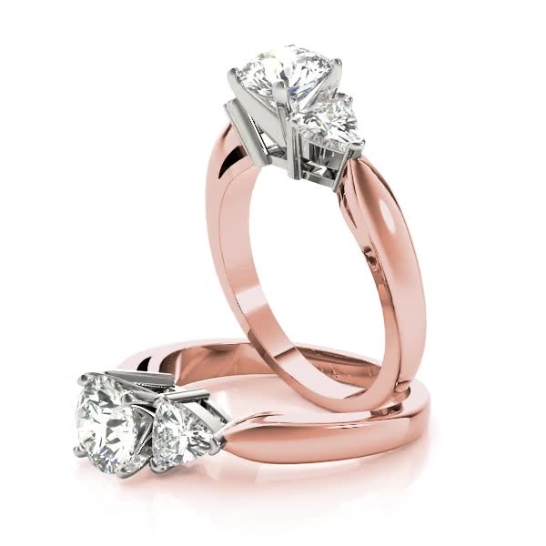 Three Stone Classic Trillion Engagement Ring - 3 x 3mm, Rose Gold