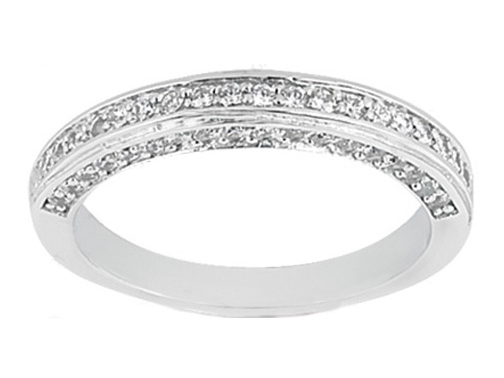 Round Diamond Wedding Band 0.58 tcw. Pavé Set in 14K White Gold