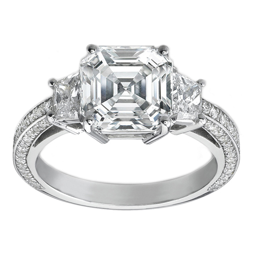 Engagement Ring -Asscher Cut Diamond Three Stone Trapezoid Cathedral Pave Engagement  Ring 1.2 tcw. In 14K White Gold-ES430AC