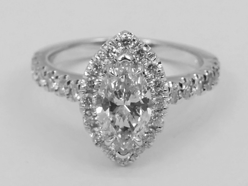Marquise Diamond Halo Cathedral Engagement Ring In 14K White Gold