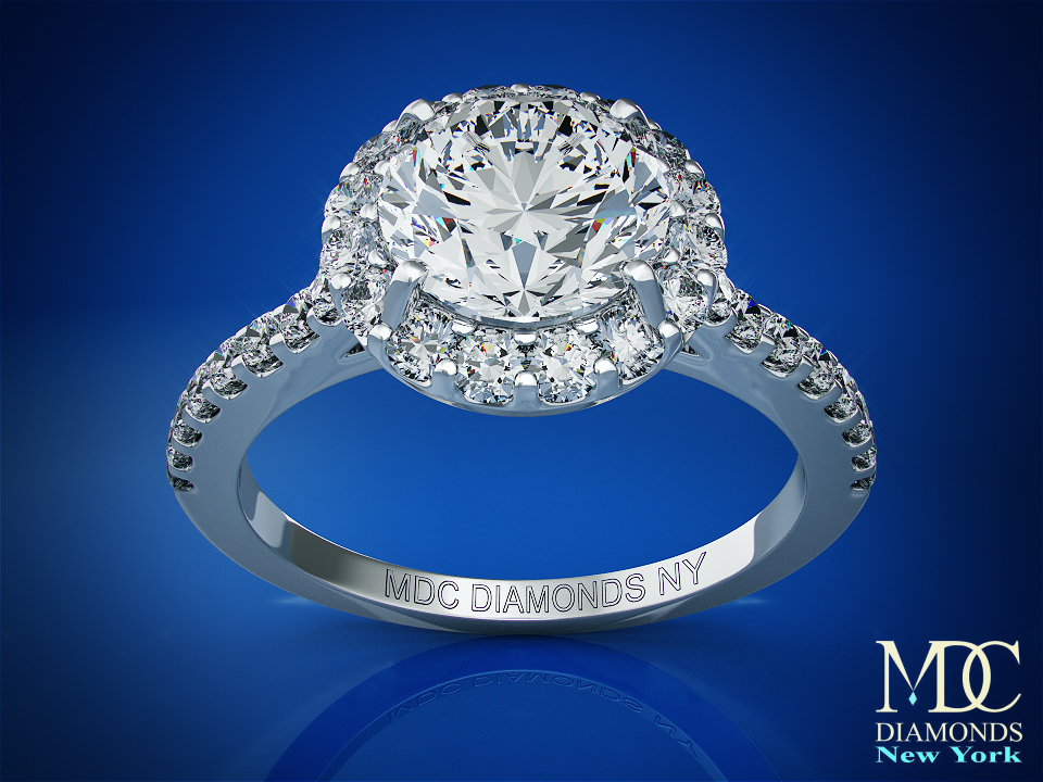 Round Diamond Halo Cathedral Engagement Ring with pave diamond band 0.32 tcw. In 14K White Gold