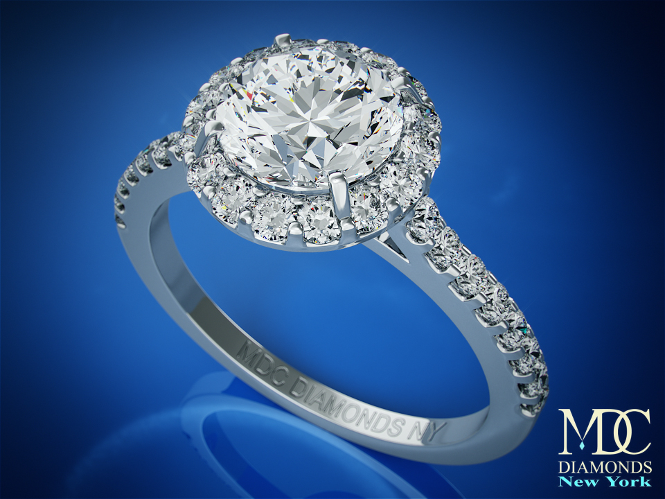 Diamond Halo Cathedral Engagement Ring Pave diamond band 0.32 tcw. In 14K White Gold