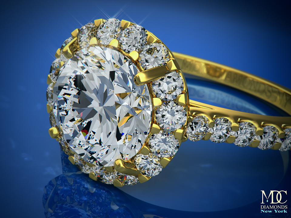 Diamond Halo Cathedral Engagement Ring Pave diamond band 0.32 tcw In 14K Yellow Gold