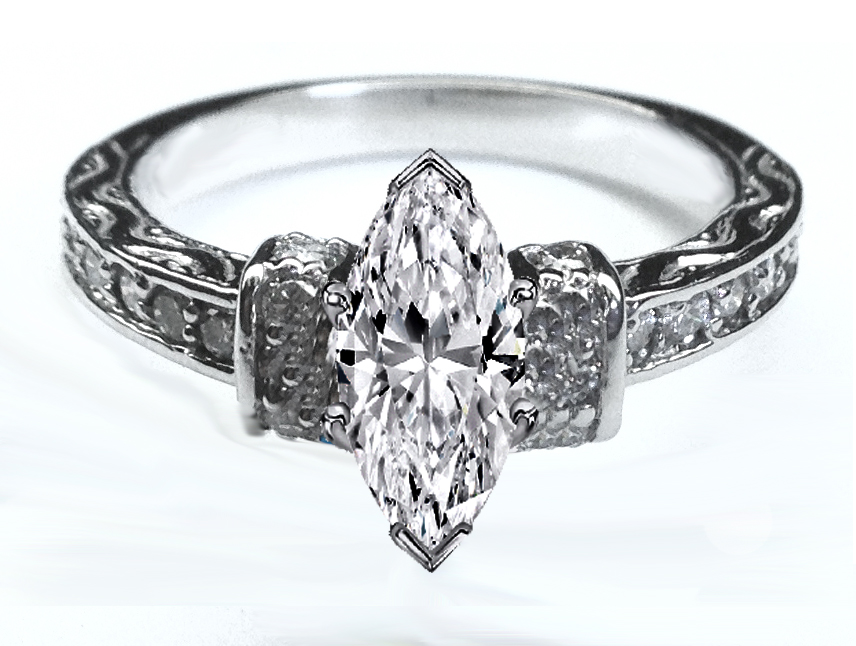 Vintage Marquise Diamond Pave Engagement Ring 0.33 tcw. In 14K White Gold