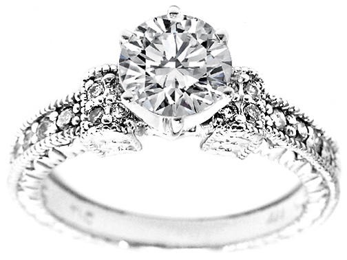Engagement Ring Vintage Style Engraved Engagement Ring 0 20 tcw Pave In 14K