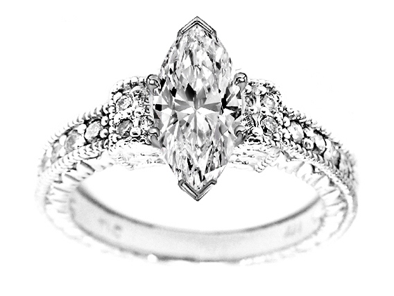 Marquise Diamond Vintage Style Engraved Engagement Ring with pave Side stones 0.20 tcw.