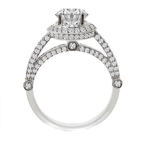 Vintage Legacy Diamond Engagement Ring in White Gold 1.02 tcw.