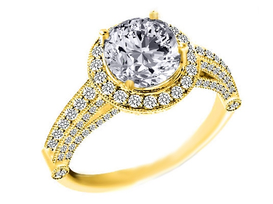 Vintage Legacy Diamond Engagement Ring Yellow Gold 1.02 tcw.
