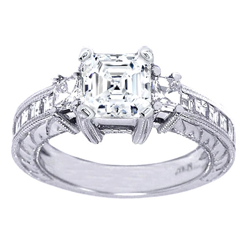 Engagement Ring Vintage Style Asscher Diamond Engagement Ring in 14K White G