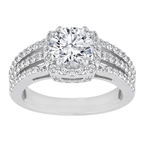 Engagement Ring Diamond Halo Three Row Vintage Style Split Band Engagement R