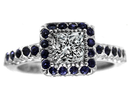 Princess Diamond Engagement Ring with Blue Sapphires 0.50 In 14K White Gold