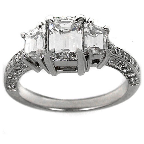 Three Stone Engagement Ring with Trapezoid Diamonds 0.82 tcw.