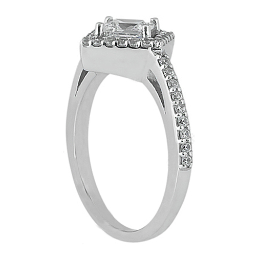 Princess Diamond Diagonal Engagement Ring Pave Halo 0.4 tcw. In 14K White Gold