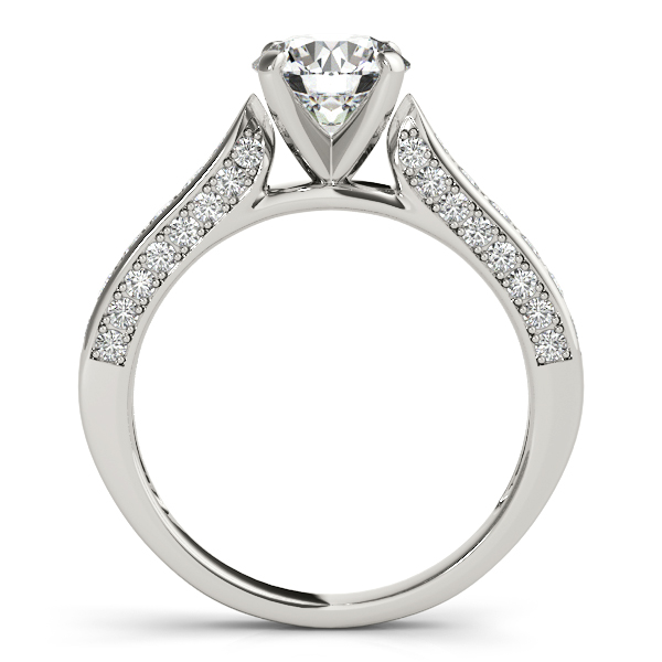 Tapered Cathedral Diamond Engagement Ring with Three Sides of Pave Diamonds in Yellow Gold