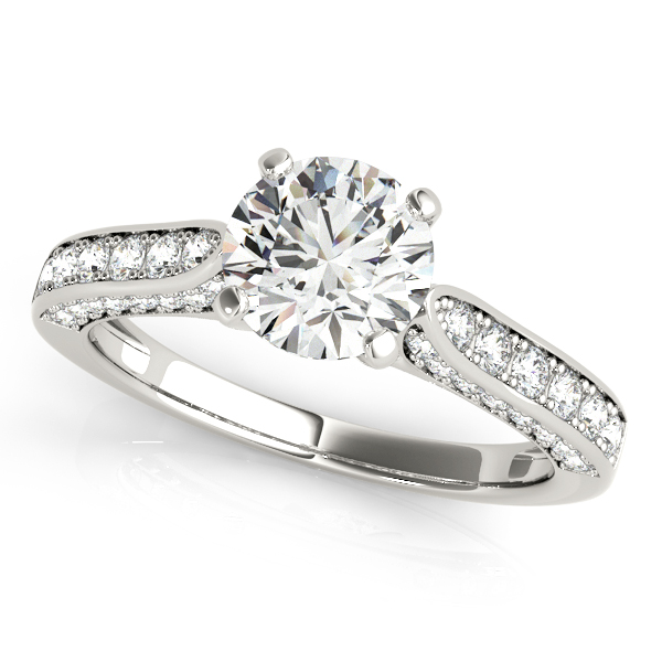 Tapered Cathedral Diamond Engagement Ring with Three Sides of Pave Diamonds in White Gold