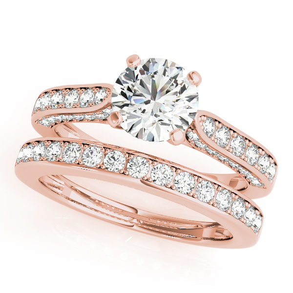 Tapered Cathedral Diamond Engagement Ring with Three Sides of Pave Diamonds in Rose Gold