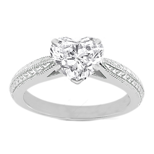 heart diamond vintage wheat engraved cathedral engagement ring with surprise diamonds in 14k white gold - Heart Wedding Rings