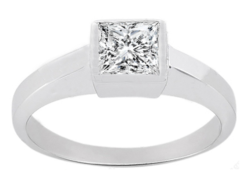 0.40 Carat Princess Diamond Classic Bezel Set Solitaire Engagement Ring