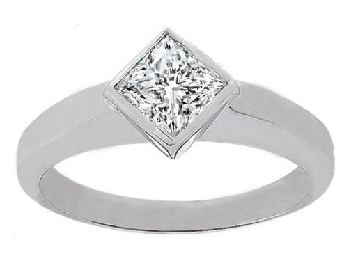 Princess Diamond Diagonal Set Bezel Solitaire Engagement Ring 0.40 Carat