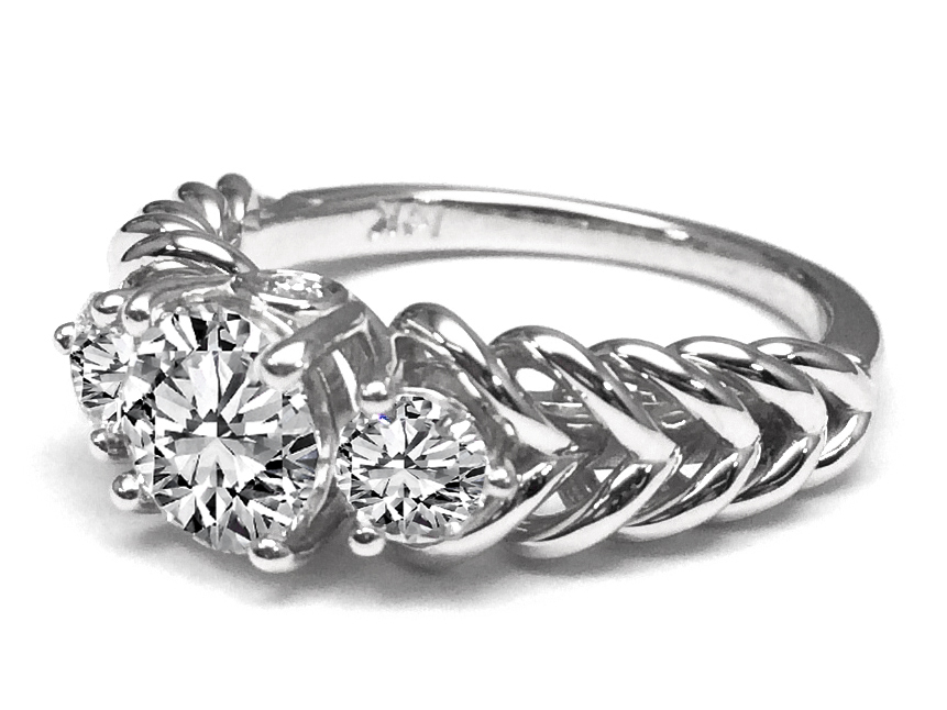 Three Stone Double Helix Diamond Engagement Ring 0.56 tcw. In 14K White Gold