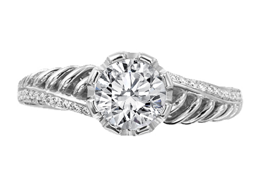 Double Helix Diamond Engagement Ring 0.36 tcw. In 14K White Gold