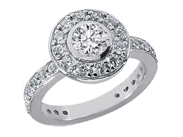 Engagement Ring Bezel Set Vintage Style Diamond Engagement Ring 0 96 tcw In