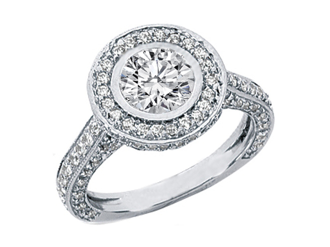 Engagement Ring Bezel Set Diamond Vintage Style Engagement Ring 1 30 tcw In