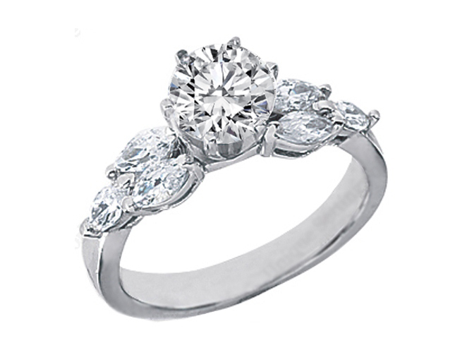 Engagement Ring Diamond Engagement Ring with Marquise Diamonds side stones 0