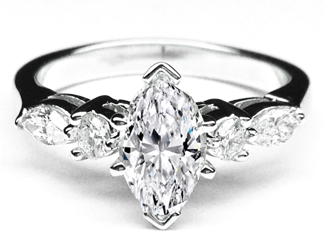 Engagement Ring Marquise Diamond Engagement Ring Marquise Amp Round Diamonds Side Stones 042 Tcw