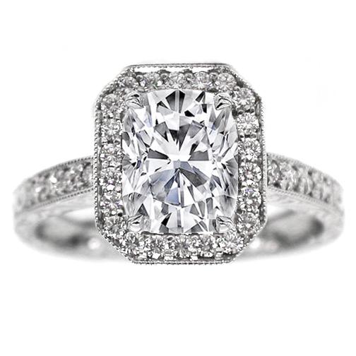 Engagement Ring Cushion Diamond Halo Engagement Ring Vintage Style 0 40 tcw