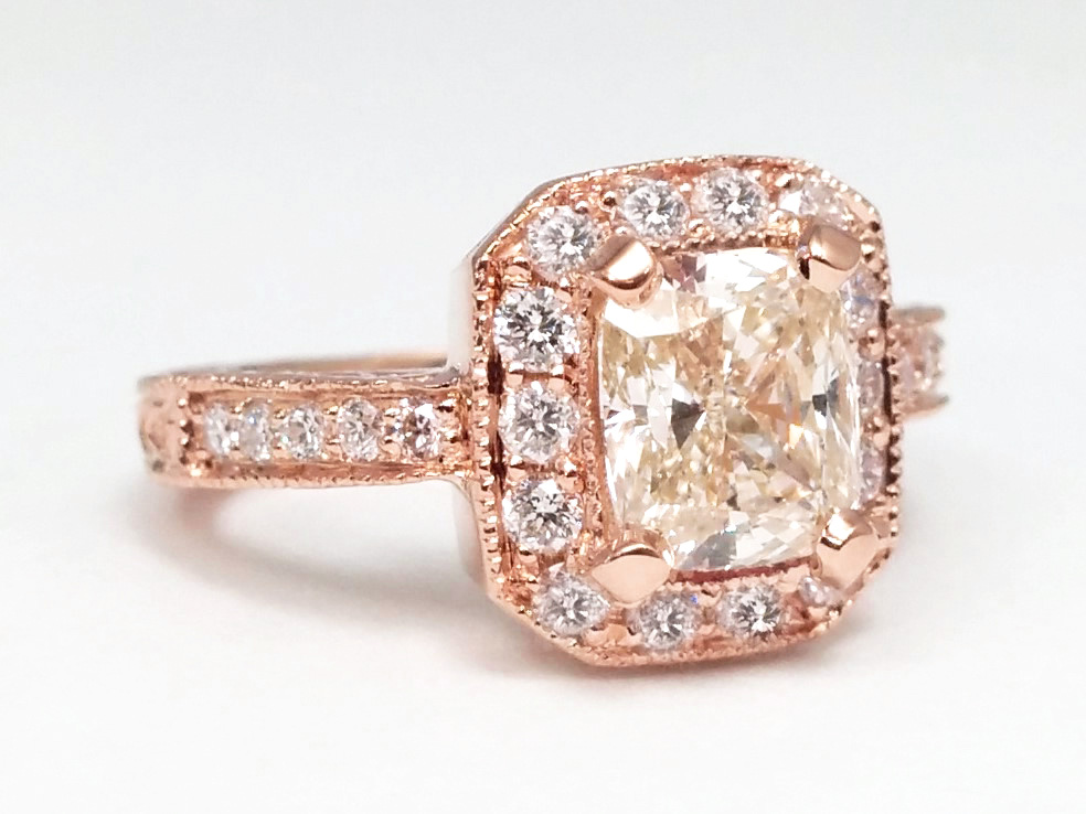 Cushion Diamond Halo Engagement Ring Vintage Style 0.40 tcw. In 14K Rose Gold