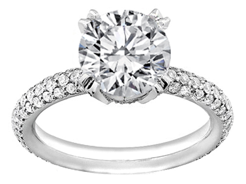 Etoil Style Three-row Diamond Band Engagement Ring, 1.10 tcw Platinum