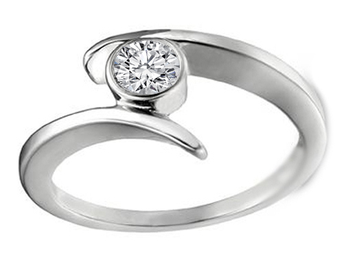 Diamond Engagement Ring Modern Open Swirl Bezel set in 14K White Gold