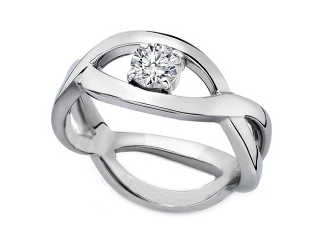 Infinity Solitaire Diamond Engagement Ring 1/2 Carat in 14K White Gold