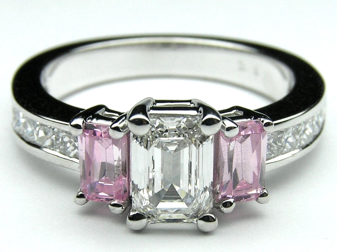 Engagement Ring Emerald Cut Pink Sapphires And Princess Cut Diamonds  Engagement Ring 102 Tcwes50pink