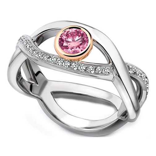 Pink and White Gold Pink Infinity Diamond Bezel Engagement Ring 0.35 tcw.