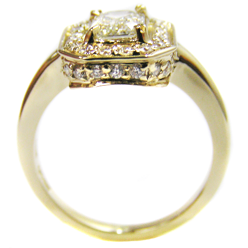 Engagement Ring Diamond Engagement Ring Vintage Style in 14K Yellow Gold ES511