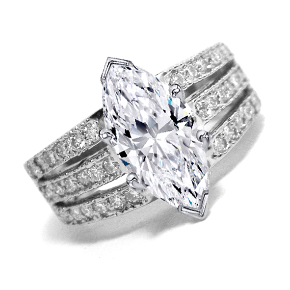 Marquise Cut Diamond Engagement Ring 3 Row Band 0.40 tcw. In 14K White Gold