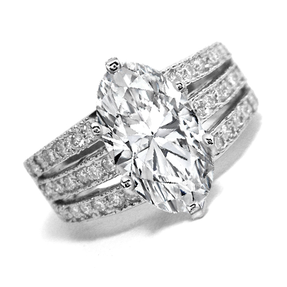 Oval Diamond Engagement Ring 3 Row Band 0.40 tcw. In 14K White Gold