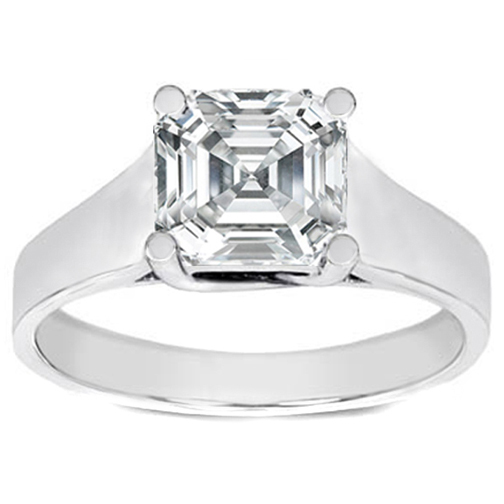 Classic Solitaire Asscher Cut Diamond Trellis Engagement Ring in 14K White Gold