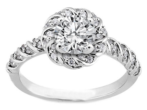 Round Diamond Petite Rope Wedding Ring 0.17 tcw.