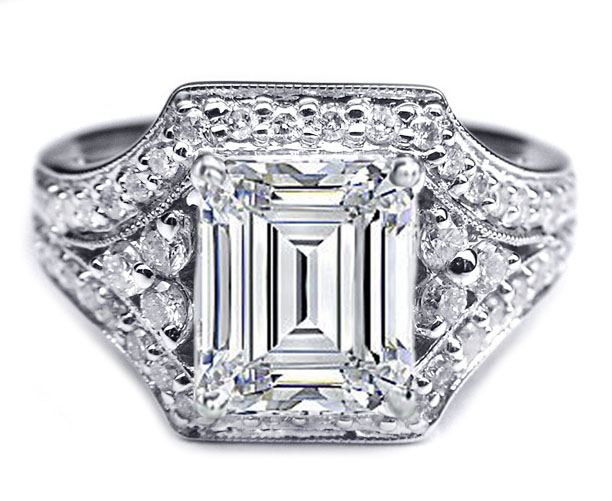 Engagement Ring Emerald Cut Vintage Trio Engagement Ring in 14K White Gold 0