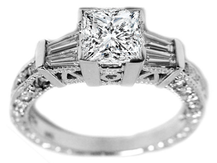 Princess Diamond Vintage Engagement Ring with Baguettes 0.60 tcw.