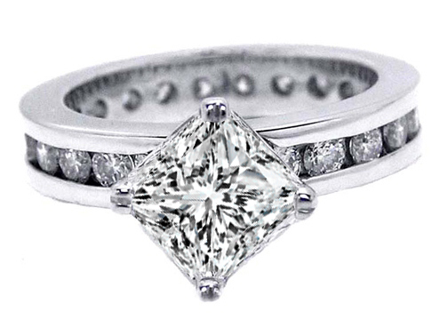 Princess Eternity Diamond Engagement Ring 1.15 tcw. In 14K White Gold